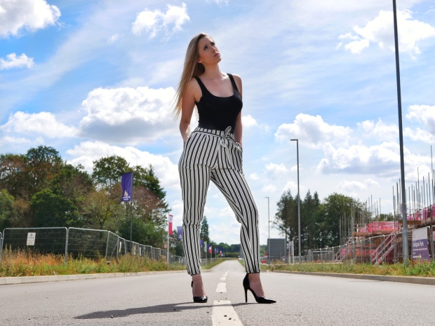 Femme Luxe Finery Black and White Stripe Trousers