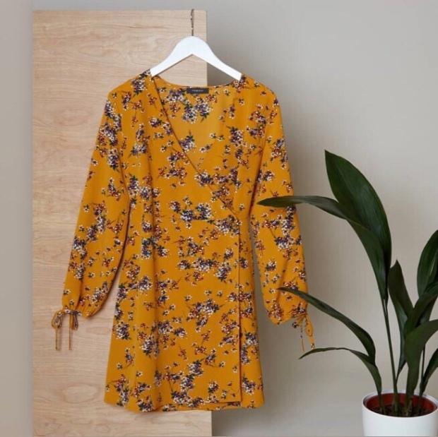 Primark floral mustard dress